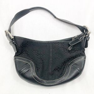 COACH BLACK LEATHER JACQUARD SIGNATURE SOHO HOBO